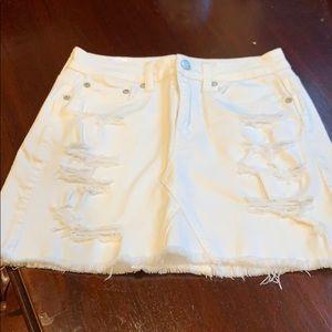 American eagle white jean skirt